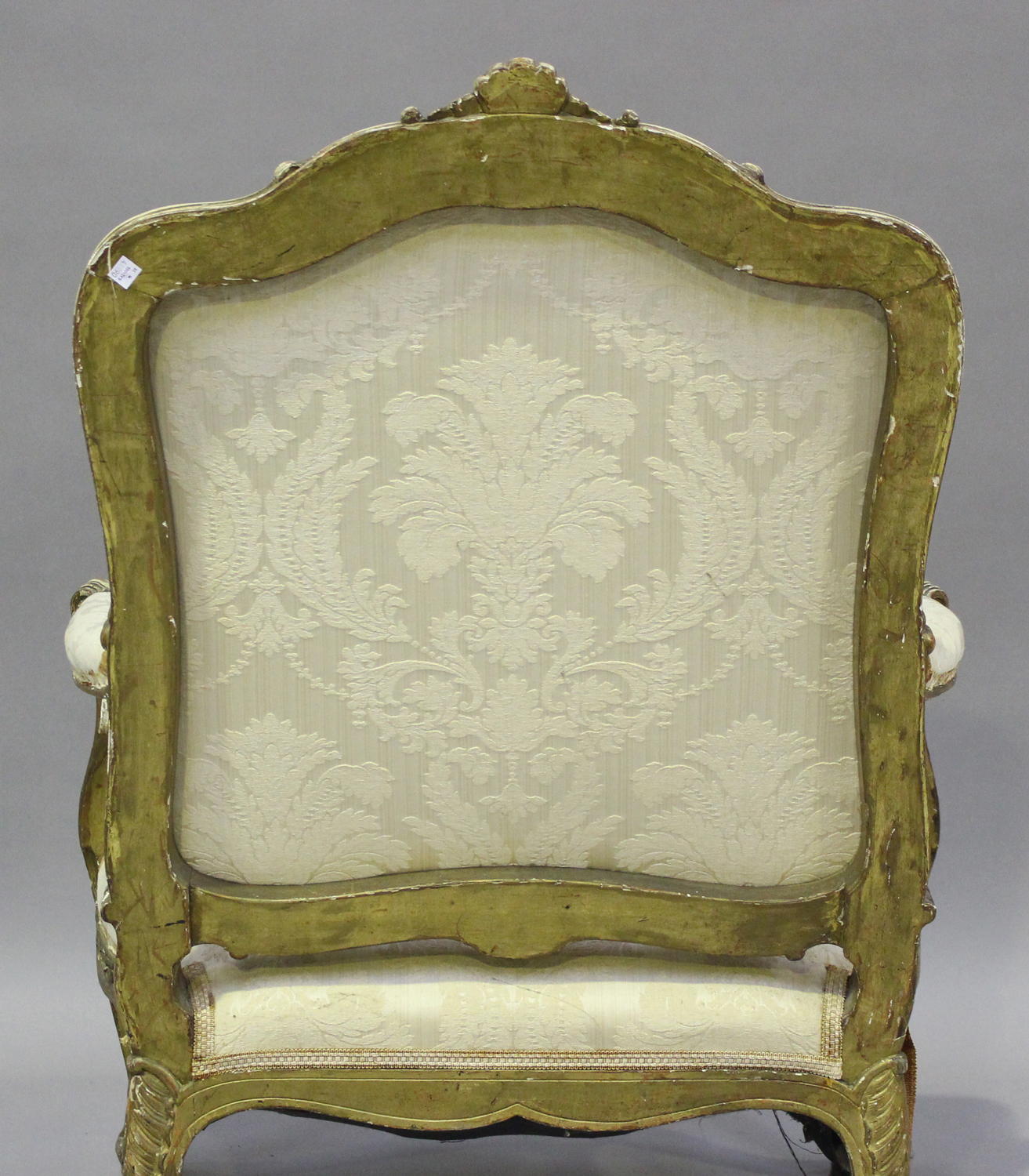 A 19th century French giltwood showframe fauteuil armchair with carved scroll decoration, on - Image 3 of 10