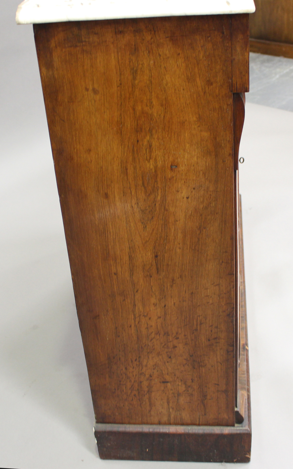 A Victorian rosewood and white marble-topped side cabinet, fitted with a pair of mirrored doors, - Image 4 of 8