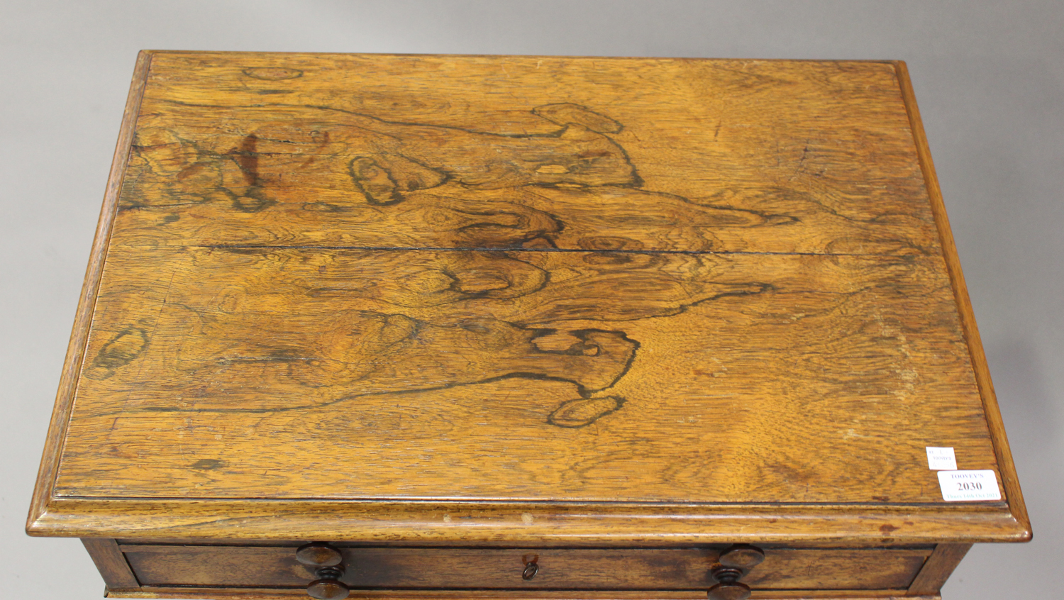 A Regency rosewood work table, the hinged lid above a drawer and basket, on scroll supports and - Image 5 of 5