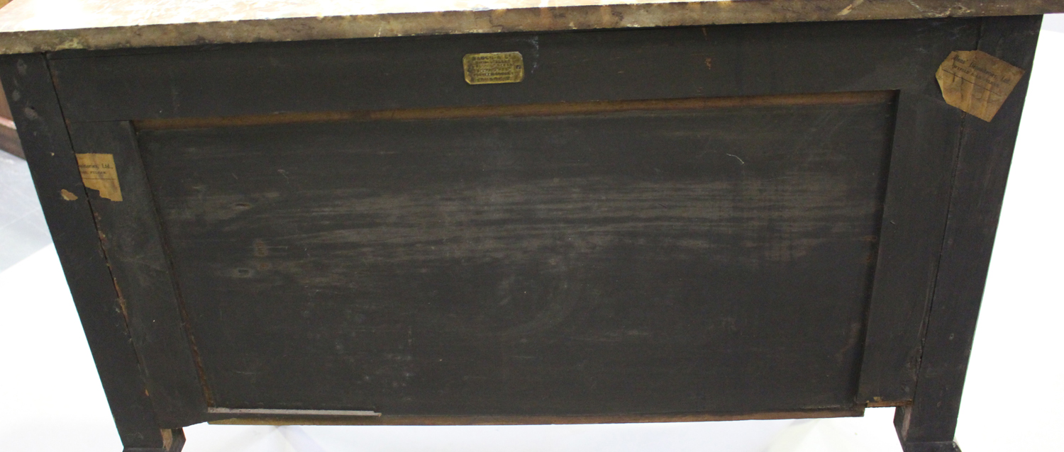 A 19th century French kingwood parquetry veneered side cabinet with rouge marble top and gilt - Image 3 of 10