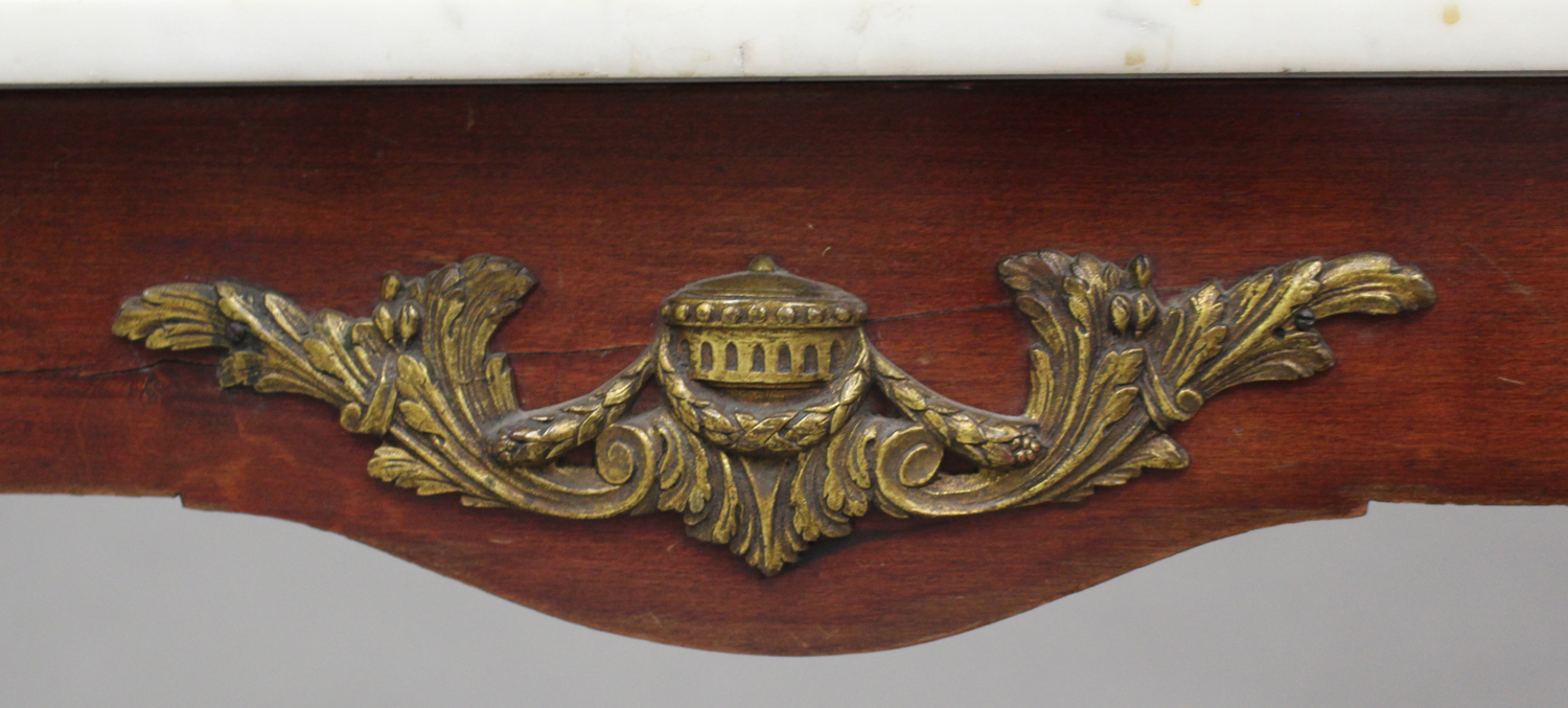 A 20th century Louis XV style mahogany and gilt metal mounted hall table with white marble top, on - Image 3 of 5