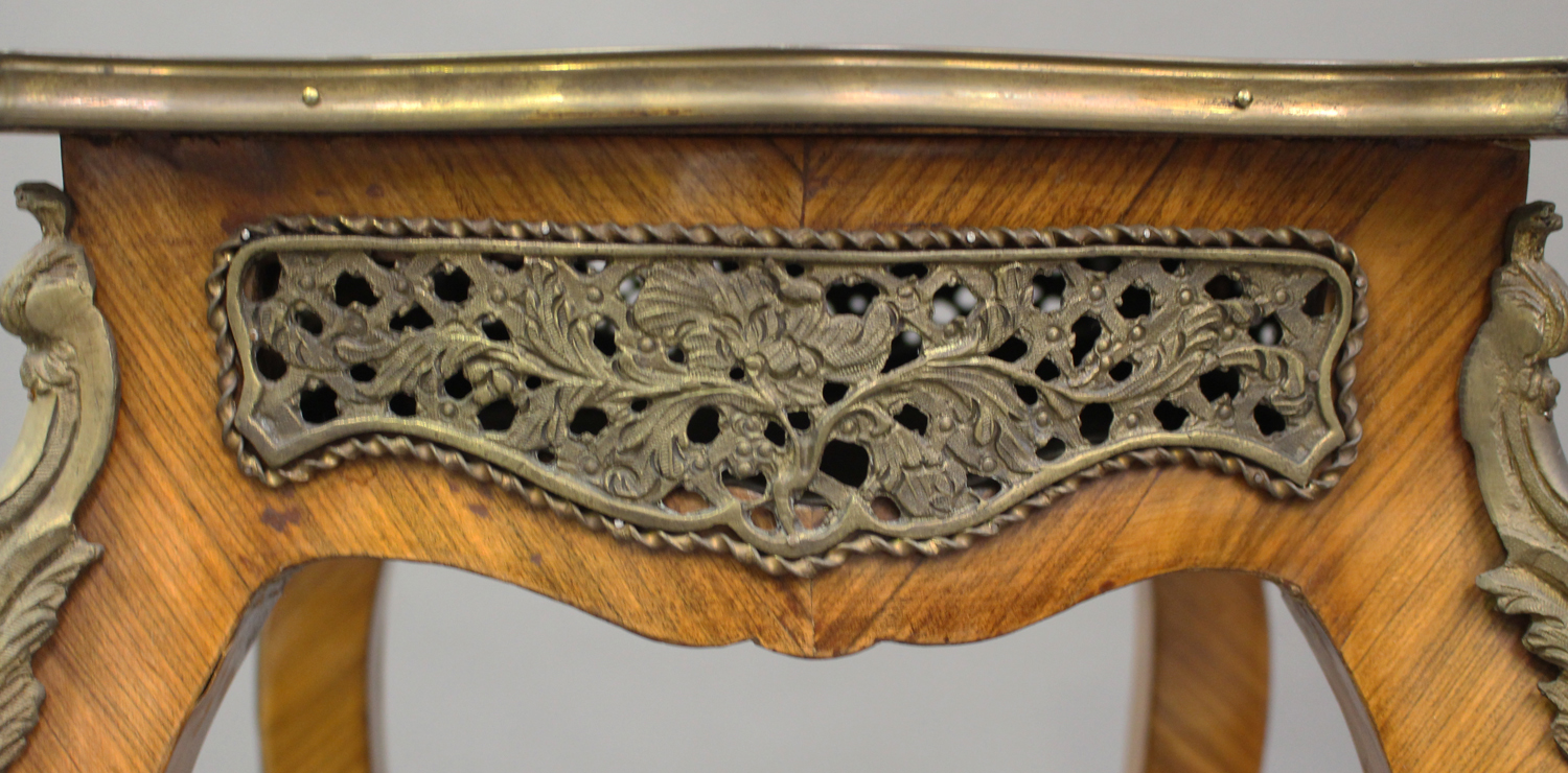 A pair of late 20th century Louis XV style kingwood and parquetry veneered jardinière stands with - Image 4 of 9