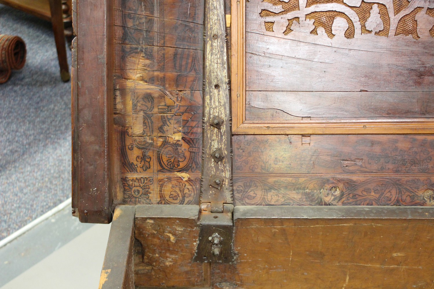 A large 17th century Italian cedar and walnut Adige chest, the lid hinged to reveal poker and pen - Image 6 of 13