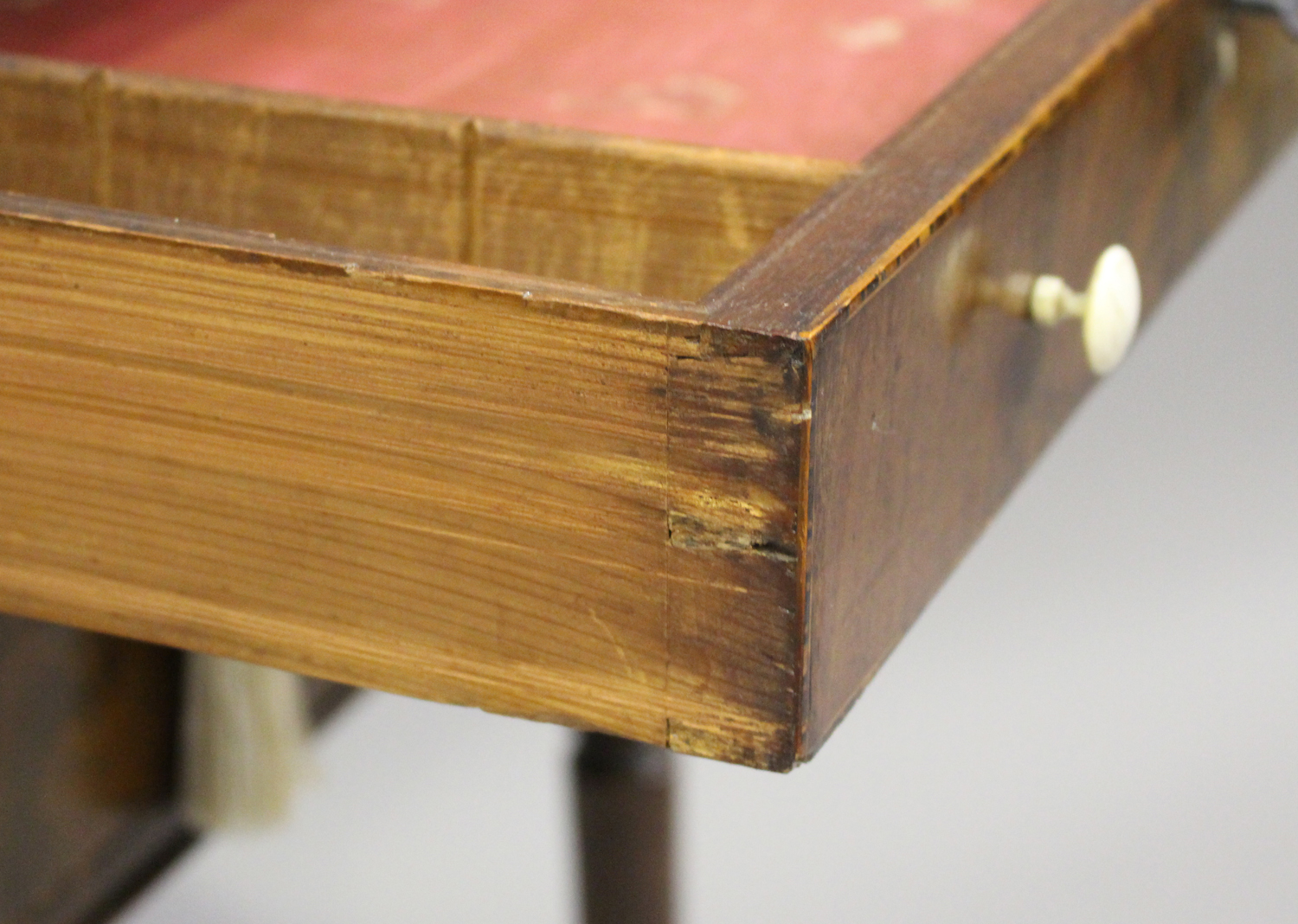 A George IV figured mahogany side table with projecting corners, the two drawers with bone handles - Image 6 of 8