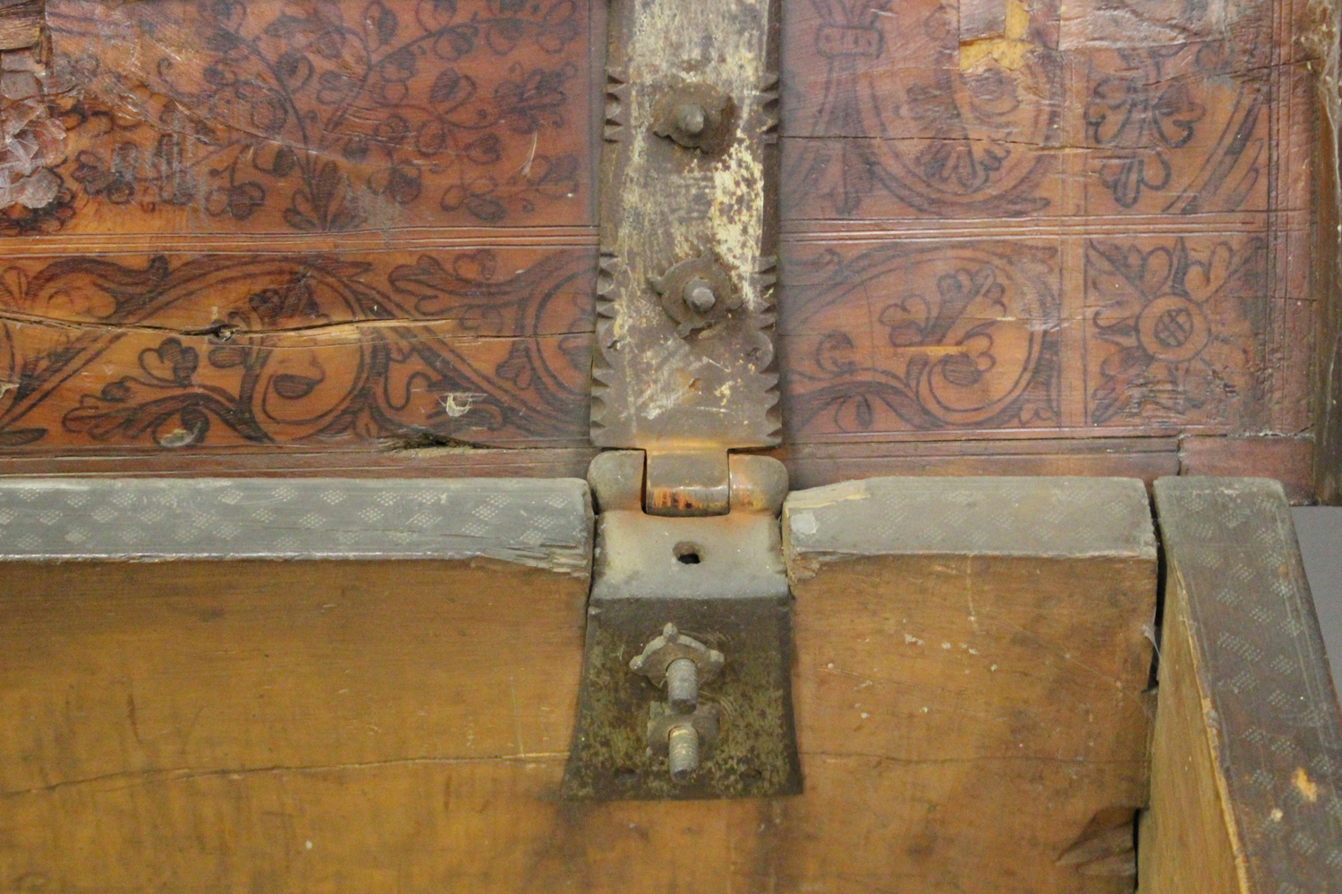 A large 17th century Italian cedar and walnut Adige chest, the lid hinged to reveal poker and pen - Image 3 of 13