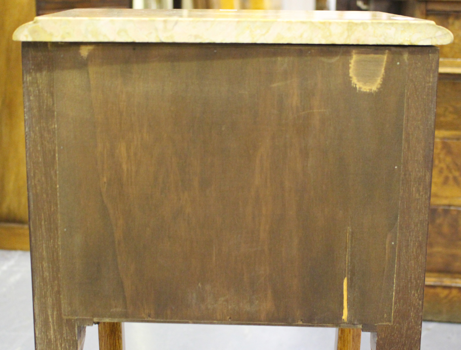 A pair of 20th century French kingwood and gilt metal mounted, marble topped bedside chests, each - Image 2 of 11