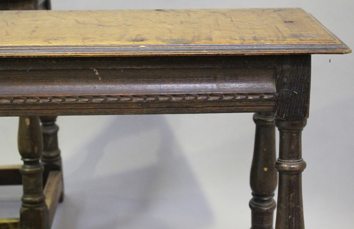 A pair of 19th century oak joint benches, on turned and block legs united by stretchers, height - Image 2 of 3