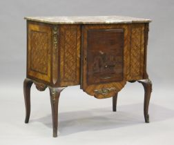 A 19th century French kingwood parquetry veneered side cabinet with rouge marble top and gilt