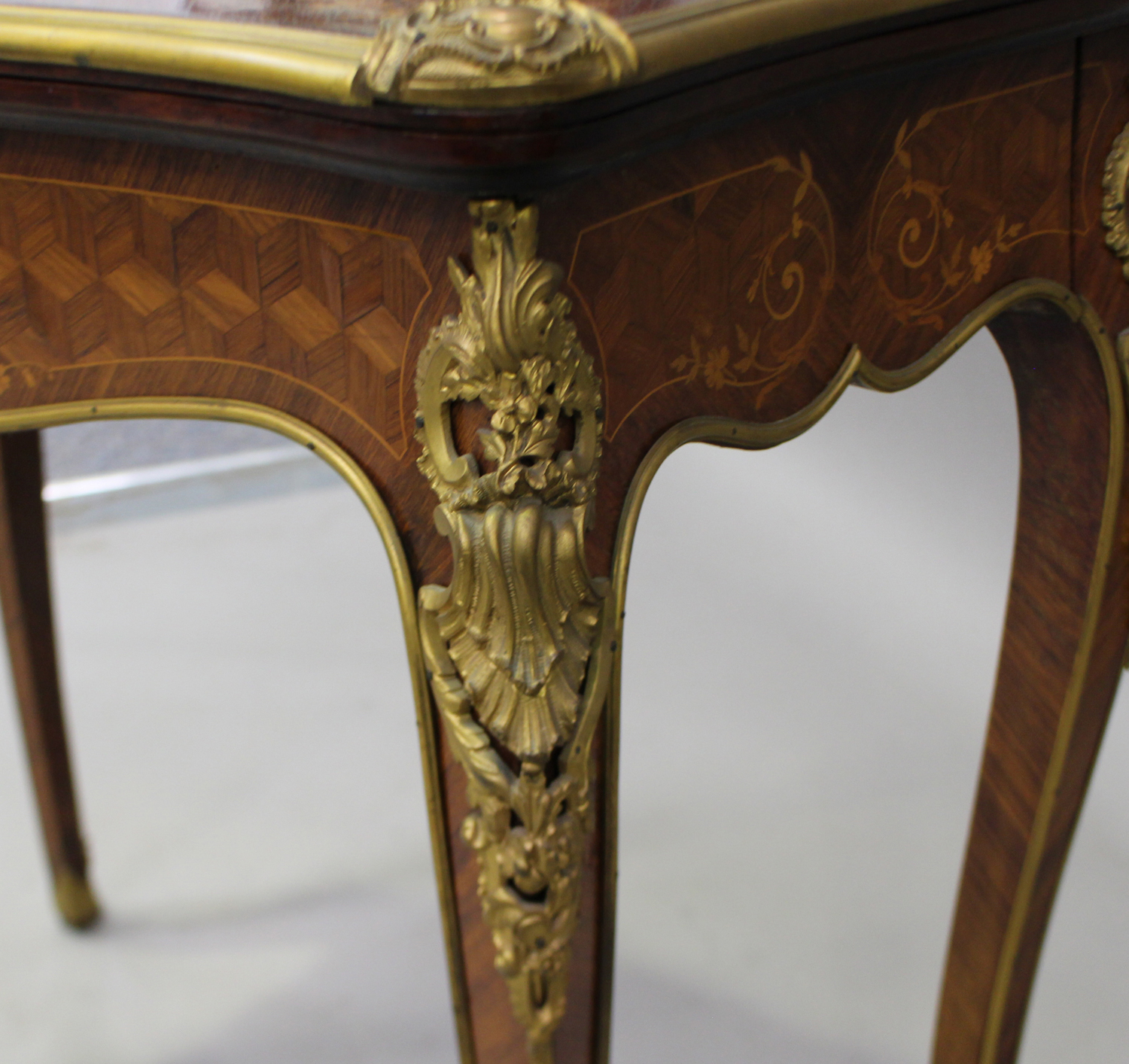 A late 19th century Louis XV style kingwood and parquetry veneered fold-over card table with gilt - Image 5 of 7