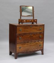 A Victorian mahogany chest of three long drawers, height 86cm, width 87cm, depth 41cm, together with
