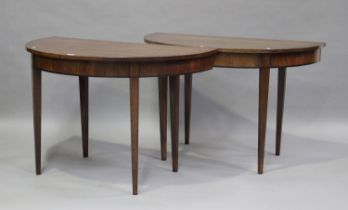 A pair of 19th century mahogany 'D'-end console tables, raised on square tapering legs, height 73cm,