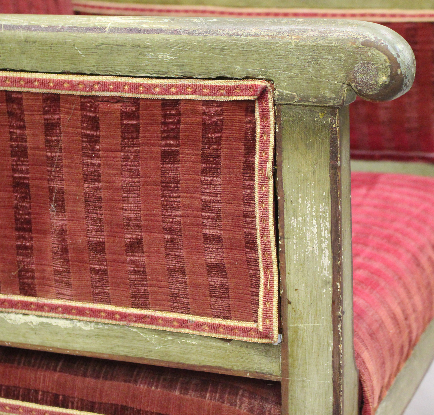 A 19th century Swedish green painted scroll armchair with foliate decoration, upholstered in red - Image 5 of 9