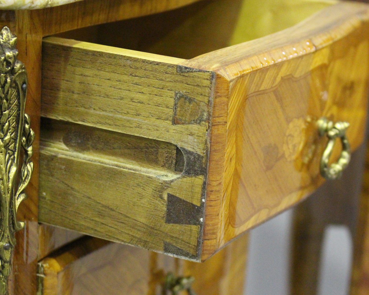 A pair of 20th century French kingwood and gilt metal mounted, marble topped bedside chests, each - Image 9 of 11