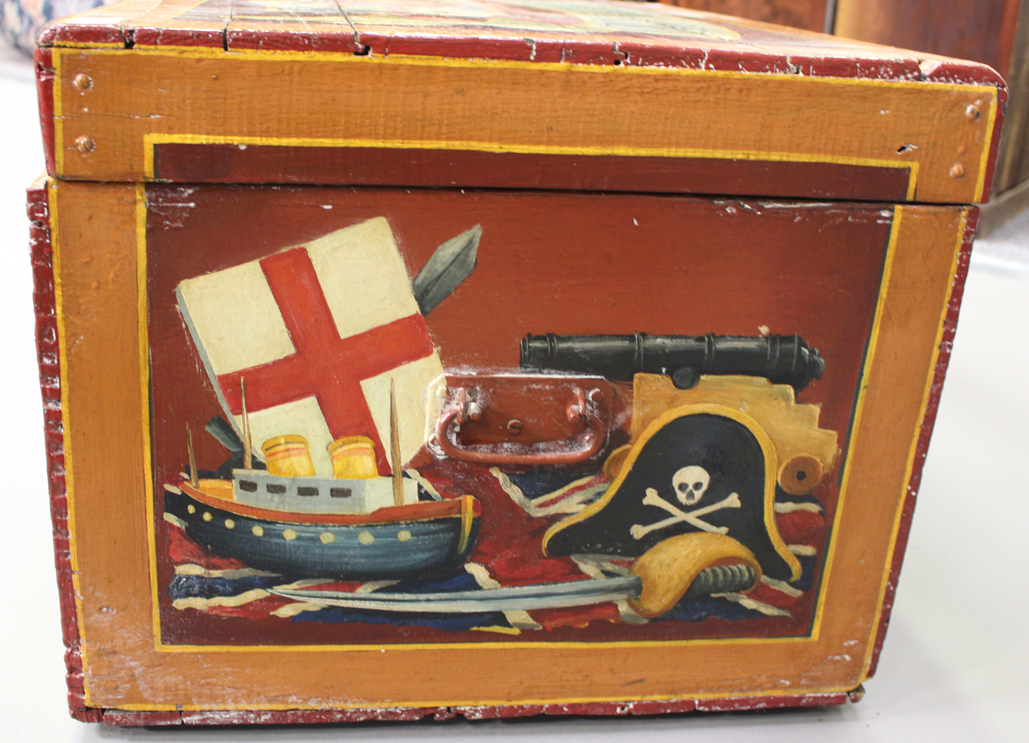 A late Victorian toy box, later polychrome painted throughout with toys and dolls, with applied - Image 4 of 7