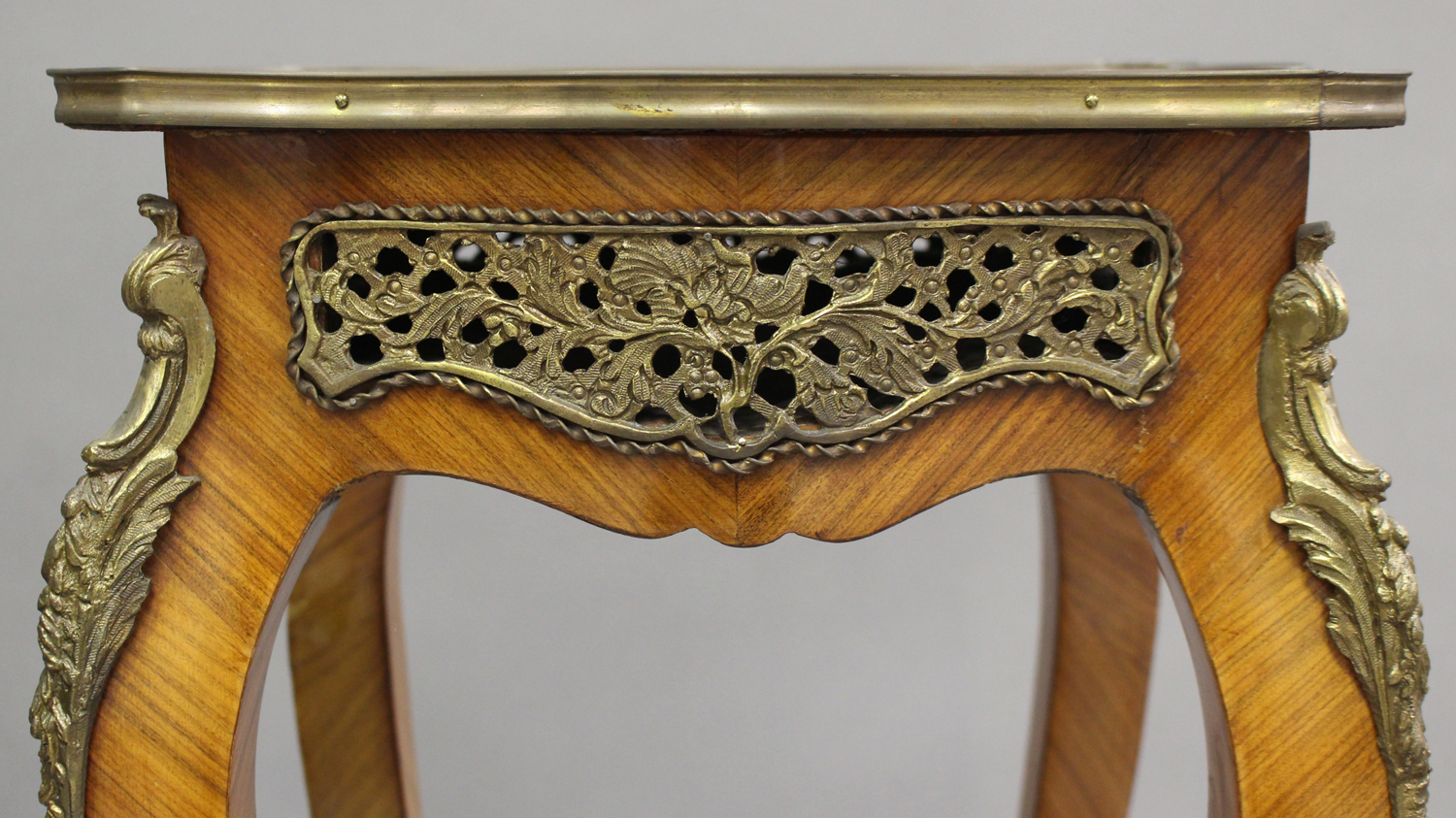 A pair of late 20th century Louis XV style kingwood and parquetry veneered jardinière stands with - Image 8 of 9