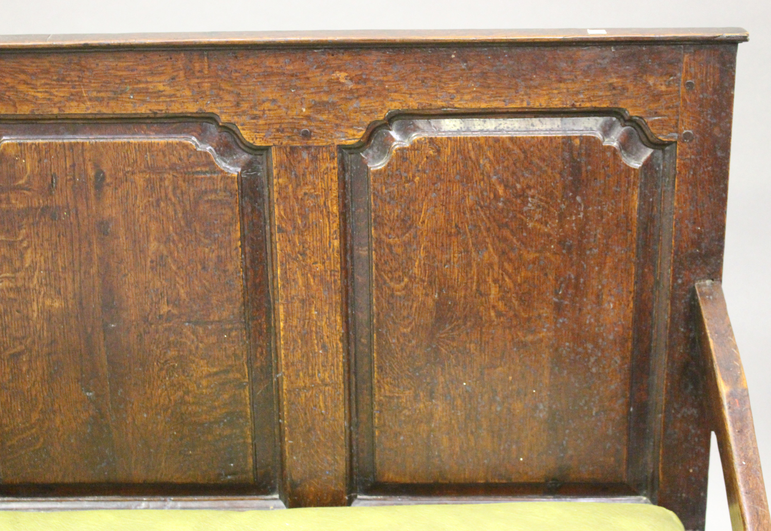 A George III oak settle with four panel back, on turned legs and pad feet, height 102cm, length - Image 5 of 5