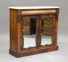 A Victorian rosewood and white marble-topped side cabinet, fitted with a pair of mirrored doors,