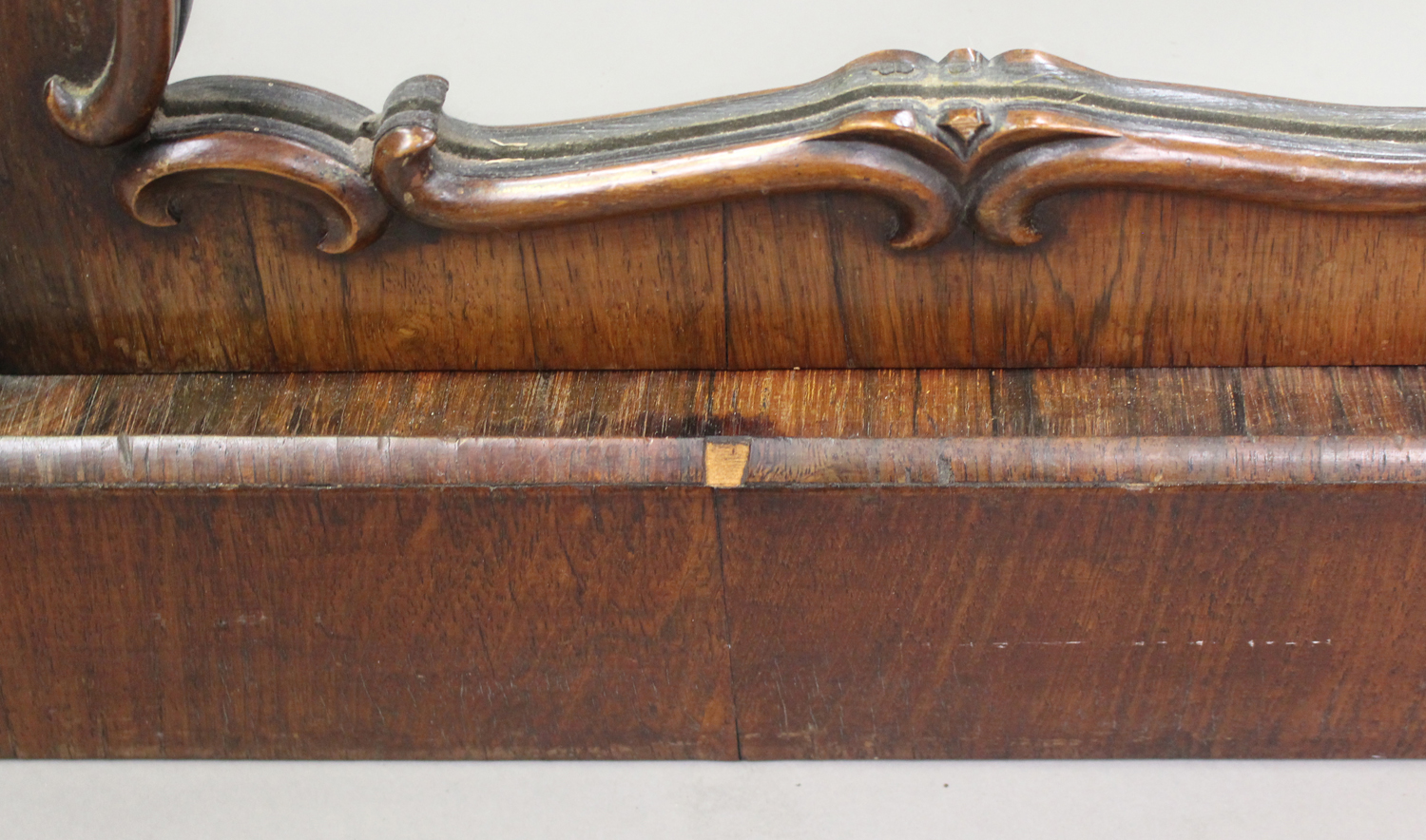 A Victorian rosewood and white marble-topped side cabinet, fitted with a pair of mirrored doors, - Image 5 of 8