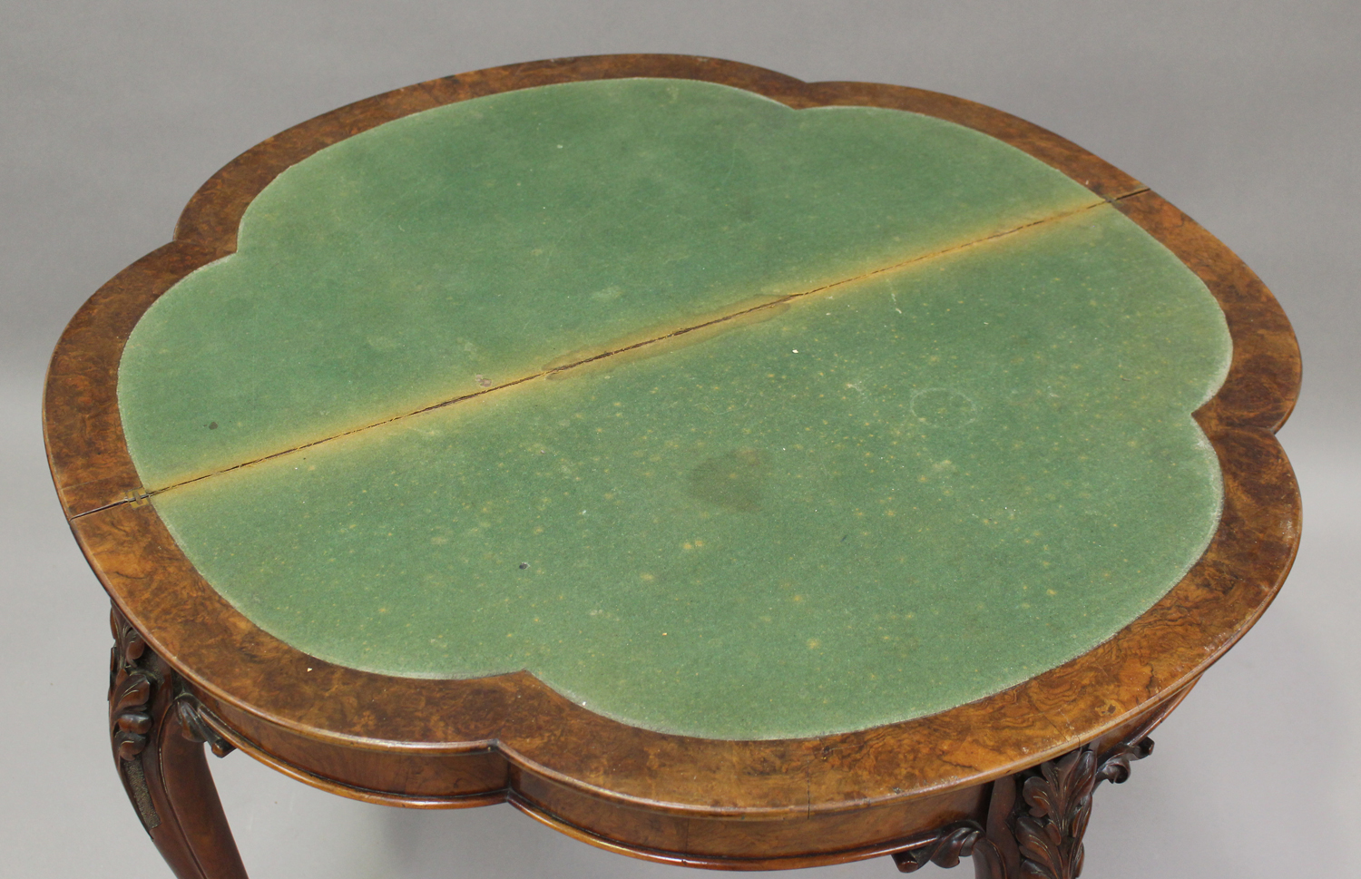 A mid-Victorian walnut fold-over card table with foliate inlaid decoration, on carved cabriole legs, - Image 3 of 6