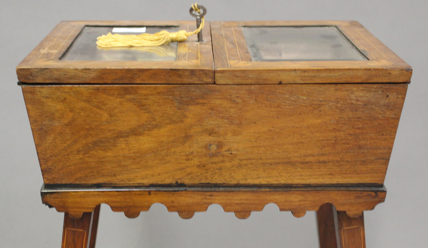 A late Victorian rosewood bijouterie table with inlaid decoration, the double hinged lid raised on - Image 2 of 4
