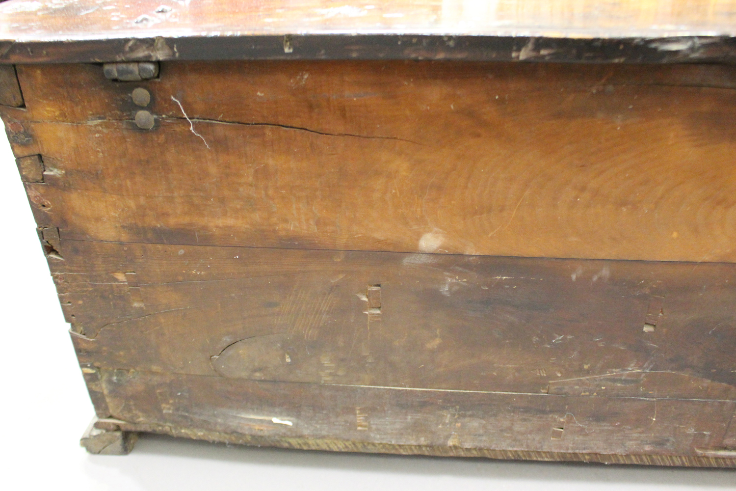 A large 17th century Italian cedar and walnut Adige chest, the lid hinged to reveal poker and pen - Image 8 of 13