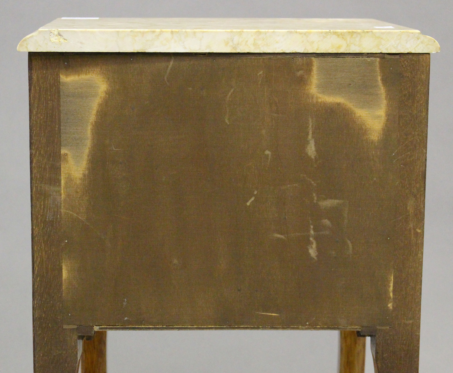 A pair of 20th century French kingwood and gilt metal mounted, marble topped bedside chests, each - Image 6 of 11