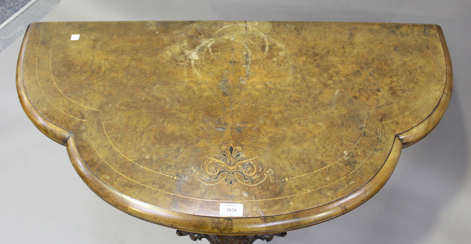 A mid-Victorian walnut fold-over card table with foliate inlaid decoration, on carved cabriole legs, - Image 6 of 6