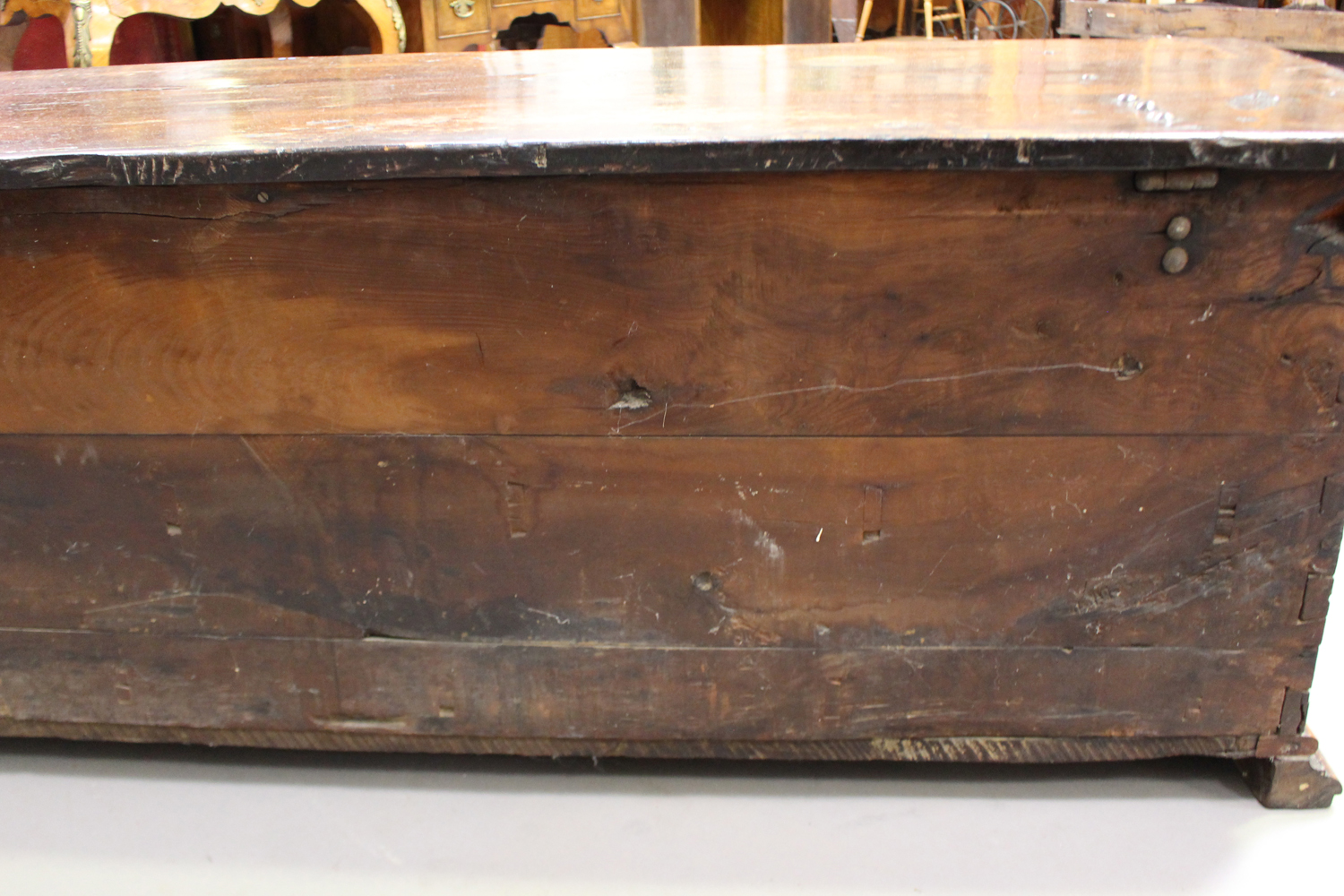 A large 17th century Italian cedar and walnut Adige chest, the lid hinged to reveal poker and pen - Image 9 of 13