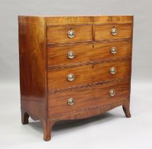 A George III mahogany chest of two short and three long drawers, on splayed bracket feet, height