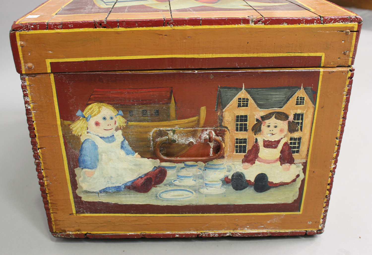 A late Victorian toy box, later polychrome painted throughout with toys and dolls, with applied - Image 5 of 7