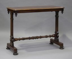 A Victorian mahogany centre table, raised on shaped supports and turned feet, height 73cm, width