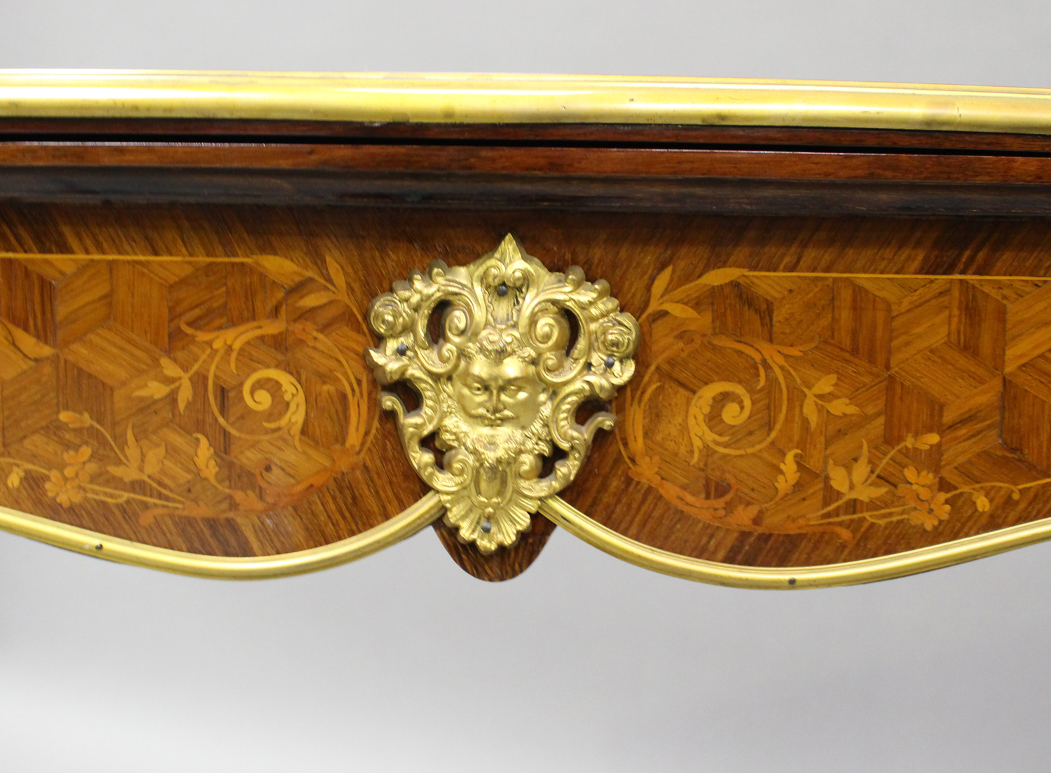 A late 19th century Louis XV style kingwood and parquetry veneered fold-over card table with gilt - Image 6 of 7