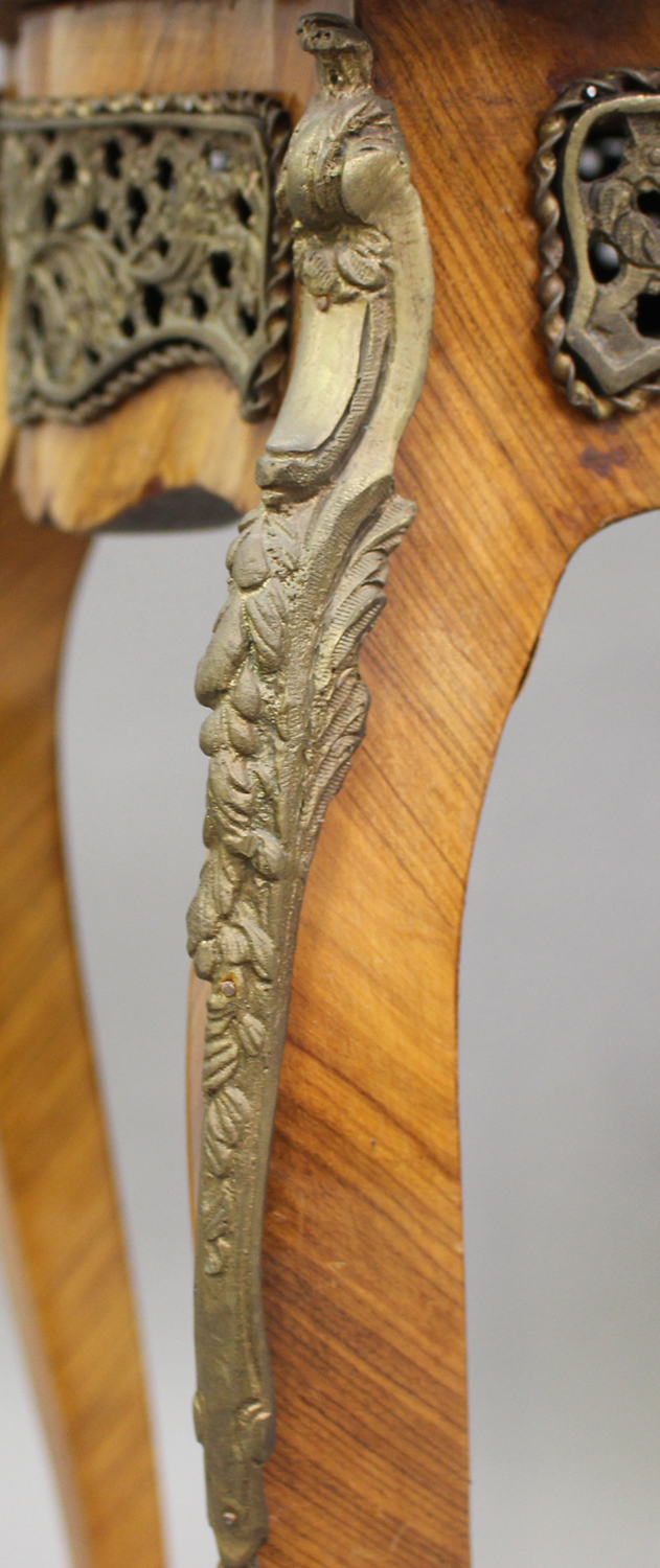 A pair of late 20th century Louis XV style kingwood and parquetry veneered jardinière stands with - Image 3 of 9