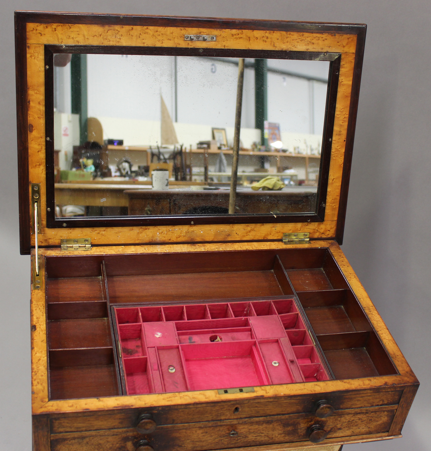 A Regency rosewood work table, the hinged lid above a drawer and basket, on scroll supports and - Image 2 of 5