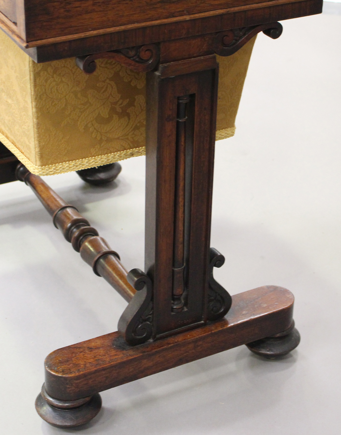 A Regency rosewood work table, the hinged lid above a drawer and basket, on scroll supports and - Image 3 of 5
