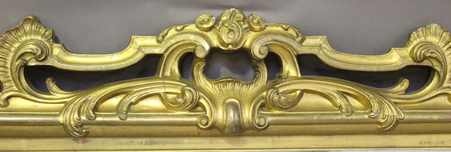 A mid/late Victorian carved gilt wood and gesso framed wall mirror, decorated with leaf and 'C' - Image 3 of 4