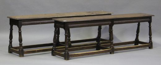 A pair of 19th century oak joint benches, on turned and block legs united by stretchers, height