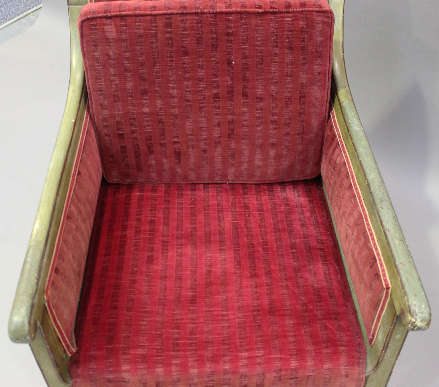 A 19th century Swedish green painted scroll armchair with foliate decoration, upholstered in red - Image 6 of 9