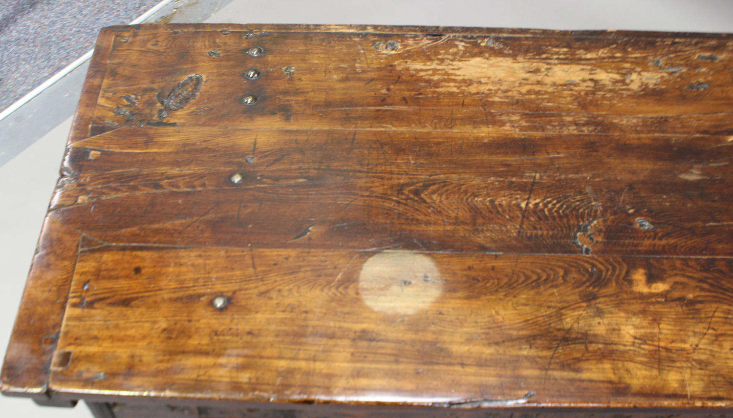 A large 17th century Italian cedar and walnut Adige chest, the lid hinged to reveal poker and pen - Image 13 of 13