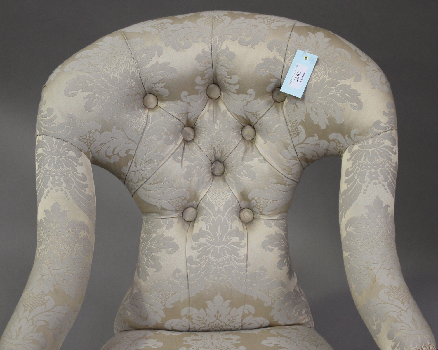 A 19th century mahogany framed scroll armchair, upholstered in blue damask, on barley twist legs, - Image 5 of 5