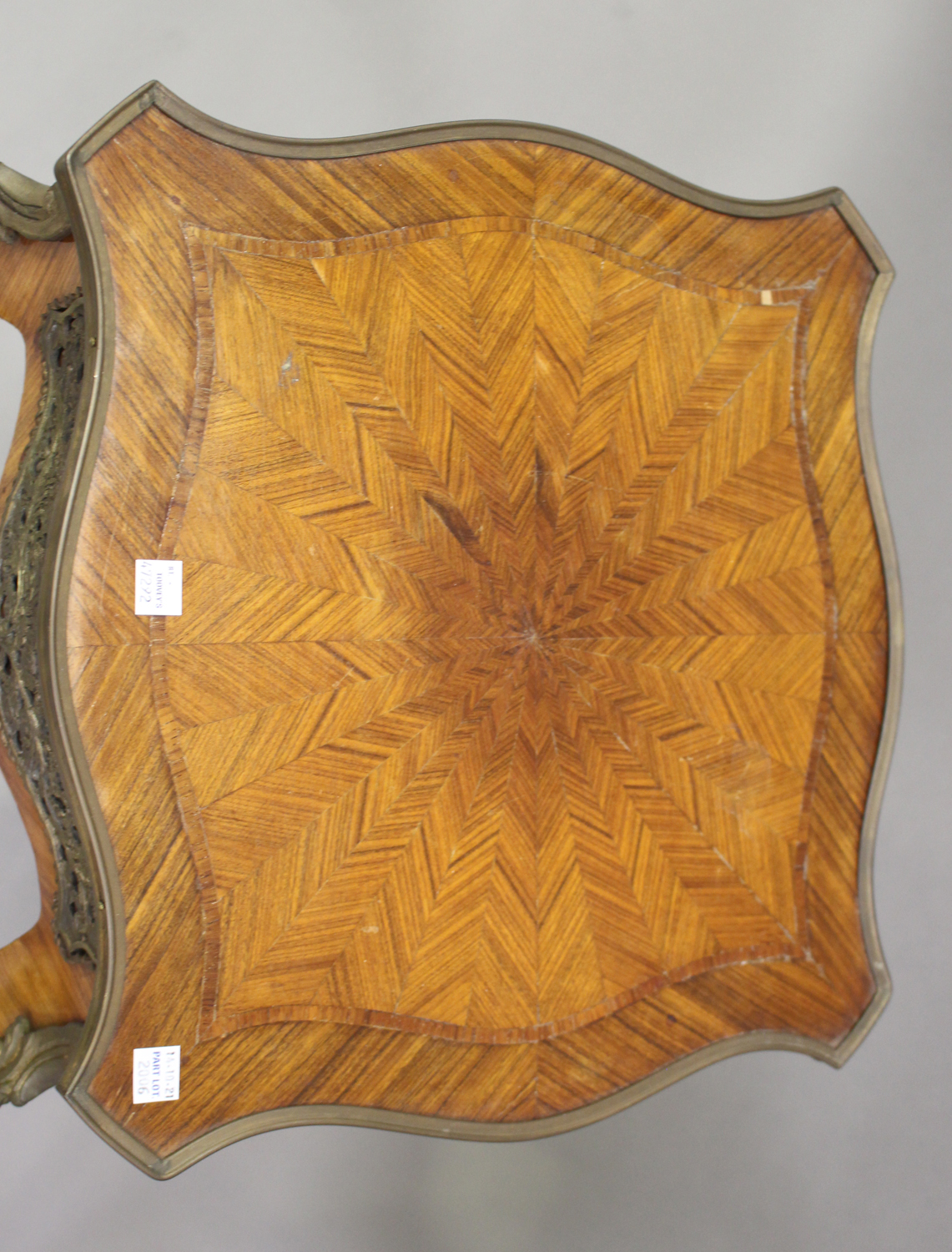 A pair of late 20th century Louis XV style kingwood and parquetry veneered jardinière stands with - Image 5 of 9
