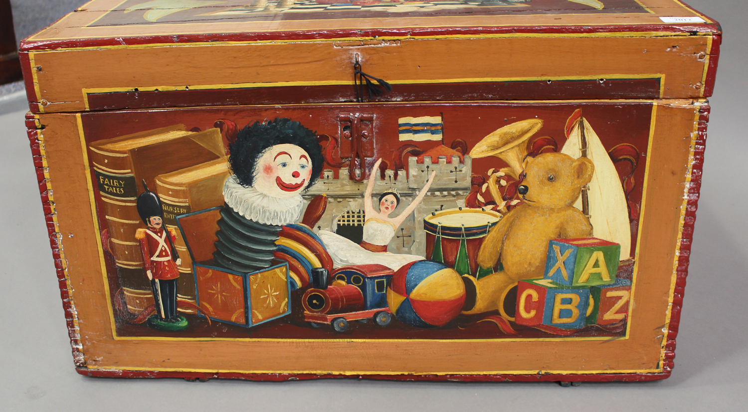 A late Victorian toy box, later polychrome painted throughout with toys and dolls, with applied - Image 6 of 7