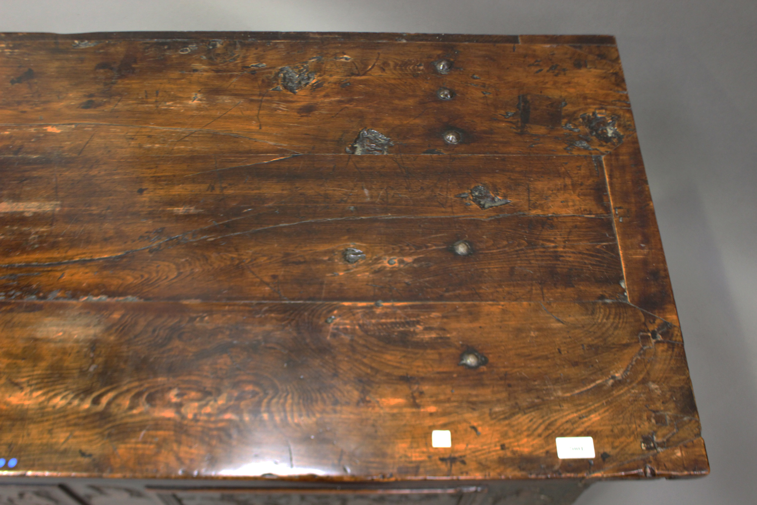 A large 17th century Italian cedar and walnut Adige chest, the lid hinged to reveal poker and pen - Image 11 of 13