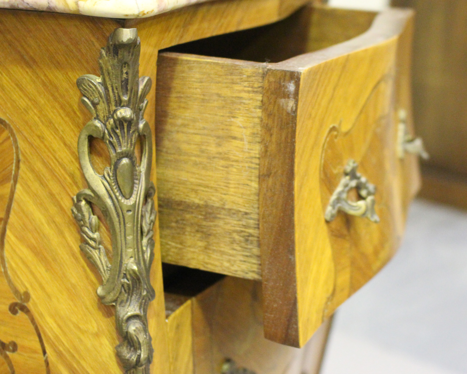 A pair of 20th century French kingwood and gilt metal mounted, marble topped bedside chests, each - Image 4 of 11