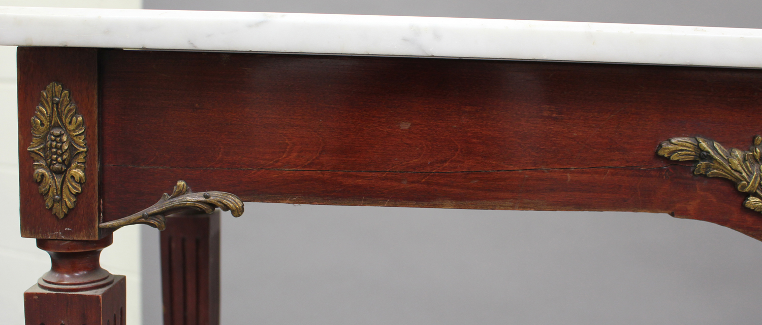 A 20th century Louis XV style mahogany and gilt metal mounted hall table with white marble top, on - Image 2 of 5