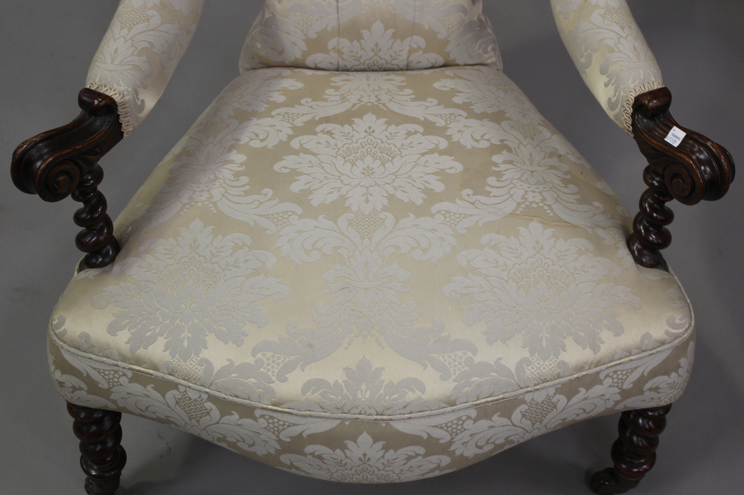 A 19th century mahogany framed scroll armchair, upholstered in blue damask, on barley twist legs, - Image 4 of 5