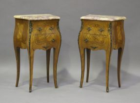 A pair of 20th century French kingwood and gilt metal mounted, marble topped bedside chests, each