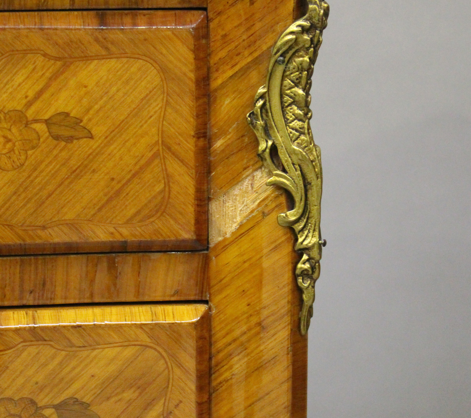 A pair of 20th century French kingwood and gilt metal mounted, marble topped bedside chests, each - Image 10 of 11