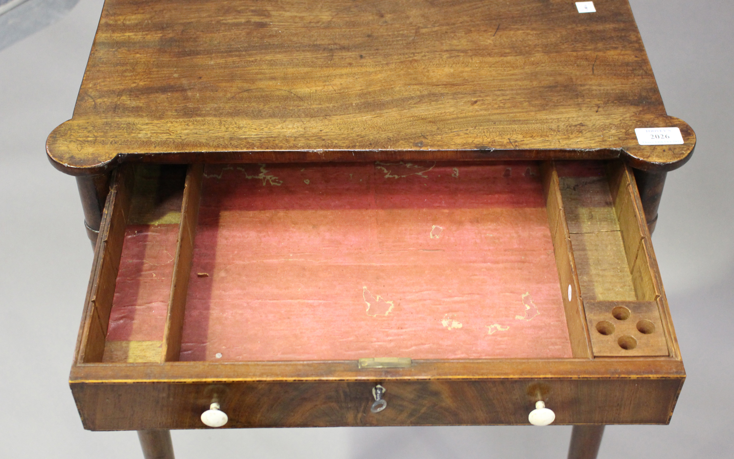 A George IV figured mahogany side table with projecting corners, the two drawers with bone handles - Image 7 of 8