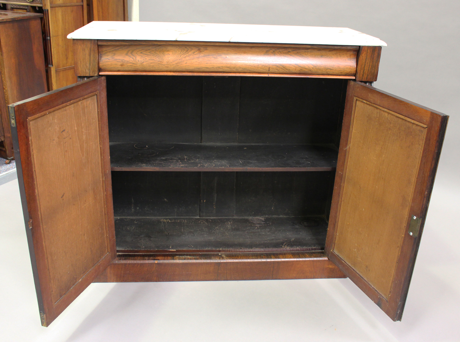 A Victorian rosewood and white marble-topped side cabinet, fitted with a pair of mirrored doors, - Image 7 of 8